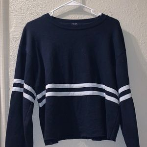 brandy melville cropped navy sweater w/ stripes